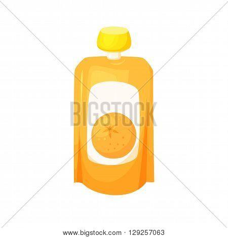 Orange juice package. Fruit orange purees. Healthy fruit purees snack in packaging. Fruit juise in packing.Orange juice in pack. Baby food. Drink fruit purees. Orange jam.