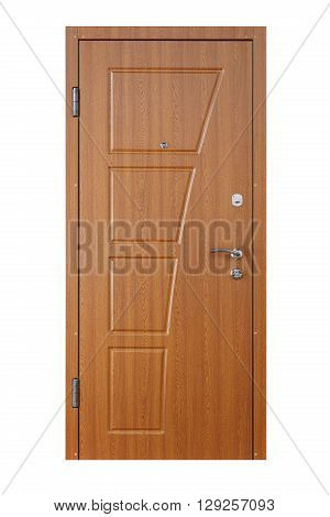 Closed alder wooden door isolated at white background. Image of a closed door. Entrance to apartment. Brown wood, designed and textured front door with lock and handle. Modern Door design.