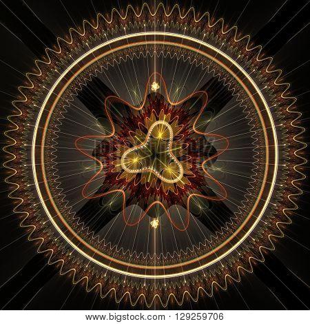 Decorative fractal design on a black background. Fractal digital artwork