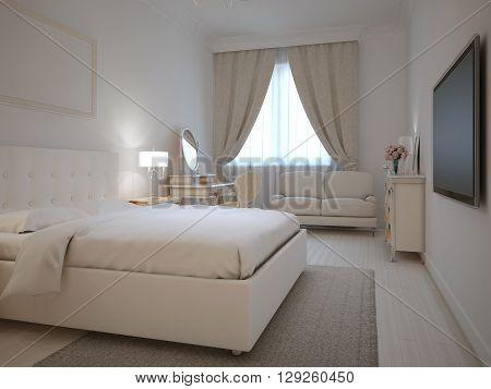 Spacy interior of neoclassic bedroom. 3D render