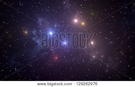 Space background with colorful glowing stars. Illustration