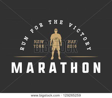 Vintage marathon or run logo emblem badge poster print or label. Design vector Illustration.