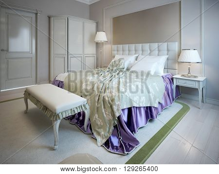 Luxury bed and bench in bedroom art deco style. White and cream furniture. Bright design. 3D render