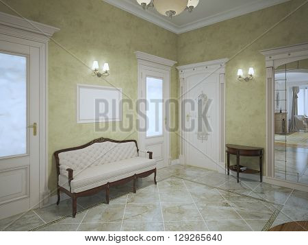 Bright hall with mahogany furniture in luxury private house. 3D render