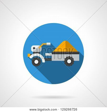 Tractor trailer with yellow load. Farm truck for transportation of grain crops. Equipment and machinery for agriculture. Round flat color vector icon. Web design element for site, mobile and business.