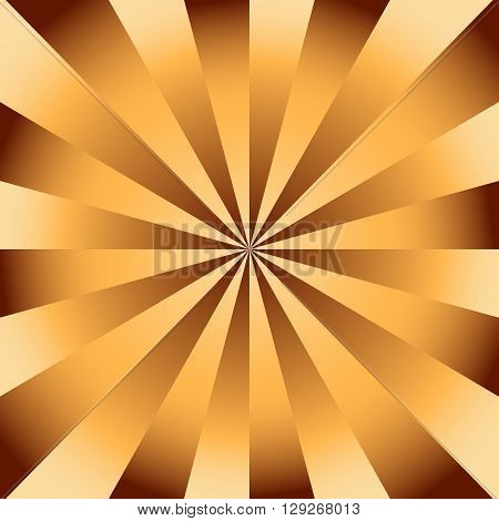 Chocolate golden radial background with divergent rays. Background in warm shades of brown and beige.