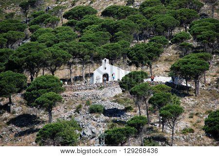 MIJAS, SPAIN - JUNE 14, 2008 - Small hermitage on the hill (Ermita del Calvario) Mijas Malaga Province Andalucia Spain Western Europe, June 14, 2008.