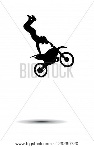 Motorcyclist. Bike trick. Silhouette on white background