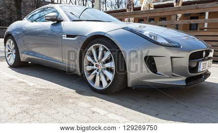 Gray Metallic Jaguar F-type Coupe, Closeup