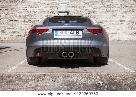 Gray Metallic Jaguar F-type Coupe, Back View