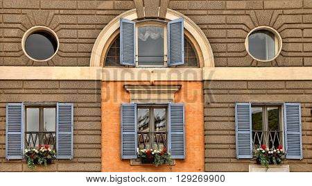 Window decoration with flowers. Rome Italy Piazza del Popolo ** Note: Soft Focus at 100%, best at smaller sizes