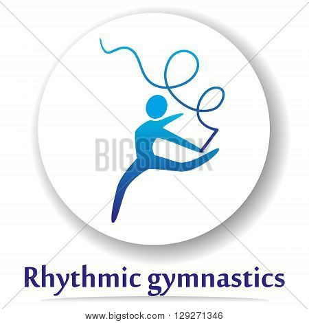 Vector icon with rhythmic sports gymnastics silhouette.