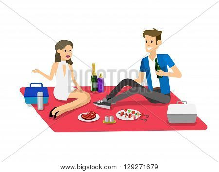 Vector character people on Family picnic or Bbq party. Food and barbeque, summer and grill. Vector barbeque party, illustration barbeque party