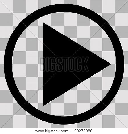 Vector Flat black singl icon play on transparent background