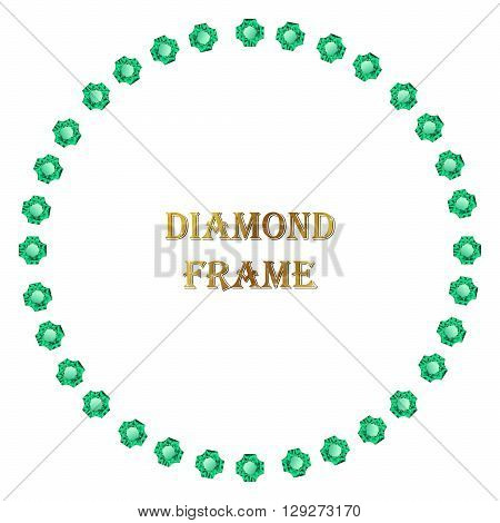 Emelald round frame. Vector jewerly border and place for your text.