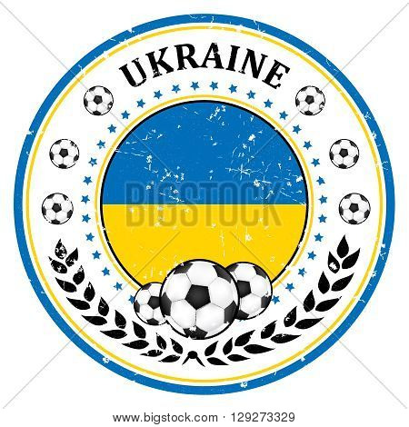 Printable Ukraine soccer team grunge stamp. Ukrainian football national team sign, containing a soccer ball and the flag of Ukraine. Print colors used