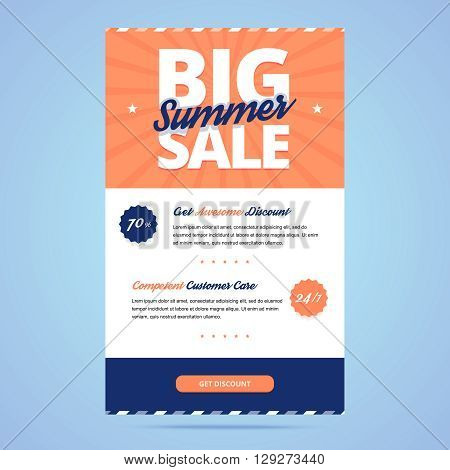 Big summer sale newsletter vector template with button.