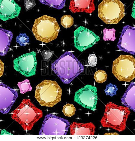 Diamonds seamless pattern. Vector illustration jewerly. Abstract diamond vector background. Jem seamless pattern. Seamless background, brilliant jewels