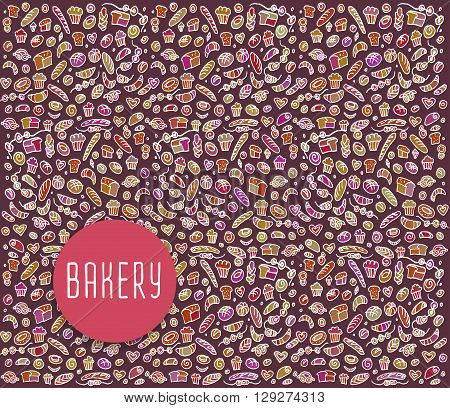 Hand drawn bakery seamless logo,  bakery doodles elements,  bakery seamless background. Bakery Vector sketchy illustration