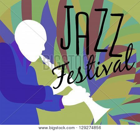 Retro Jazz festival Poster, illustration of Jazz band and cool Jazz singer who is striking a stylish pose and playing a Jazz musical performance. Vector Jazz illustration