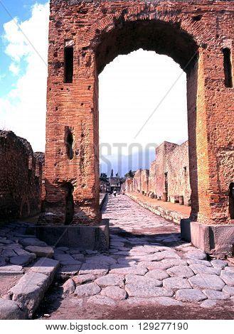 POMPEII, ITALY - SEPTEMBER 21, 1996 - Via dell'Abbondanza Pompeii Campania Italy Europe, September 21, 1996.