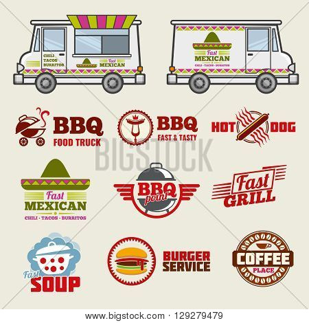 Food truck vector emblems and vehicle template. Emblem food truck, label food truck, bbq label and food truck illustration