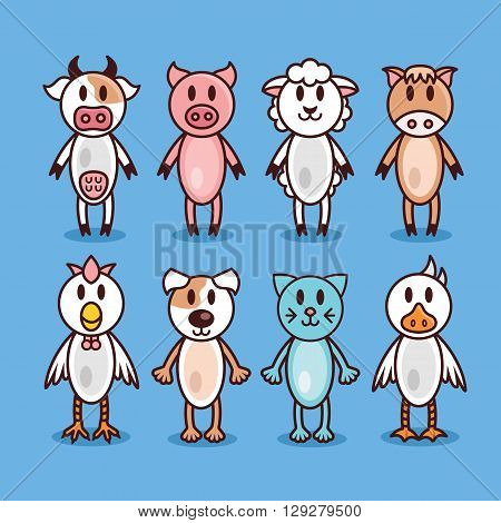 Farm animals set. Funny flat line design characters. Cow, pig, sheep, horse, chicken, dog, cat and goose. Vector illustration isolated on blue background