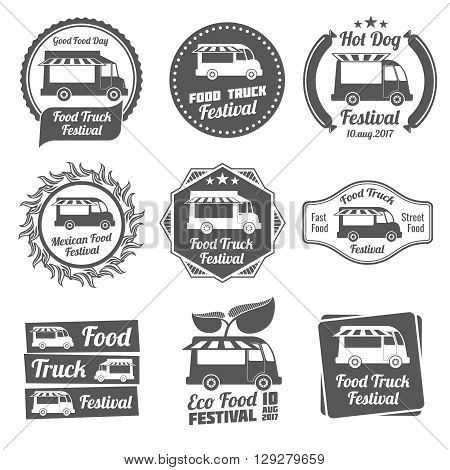 Food truck festival vintage emblems and logos vector set. Label food truck, icon vintage food truck, badge food truck illustration
