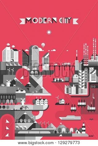 Infographic - City on a red background. Modern city, industry, ecosystem and travel. Flat design