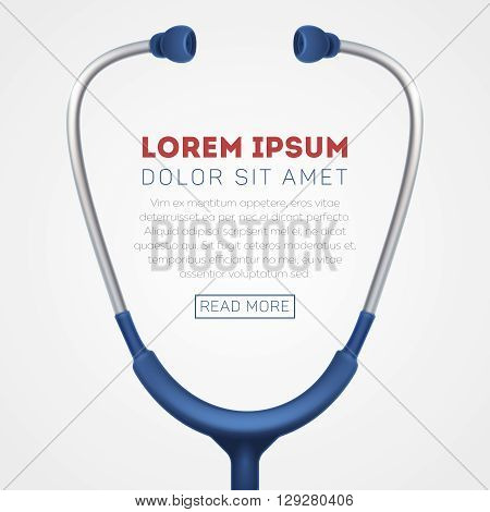 Medical vector background with stethoscope. Stethoscope medical, stethoscope equipment, medicine stethoscope illustration