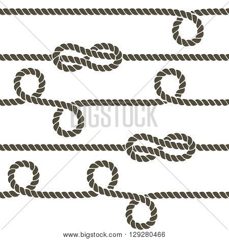 Navy rope with marine knots vector seamless pattern. Rope repetition, nautical rope knot seamless, endless rope horizontally pattern illustration