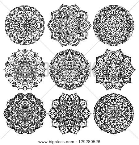 Black Mandalas Set for Coloring. Line mandalas isolated on white background. Outline mandalas for coloring page. Intricate mandala design. Vector mandalas.
