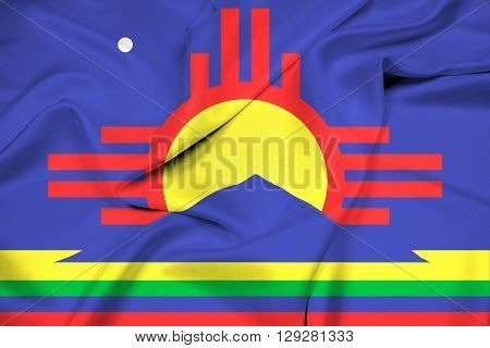 Waving Flag of Roswell New Mexico, with beautiful satin background