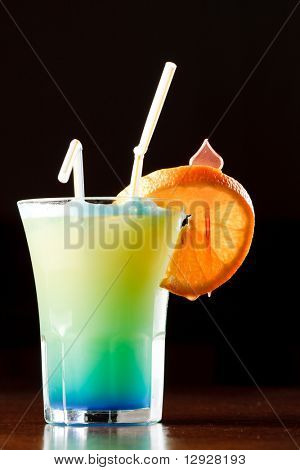 Summer drink decorated with a slice of orange
