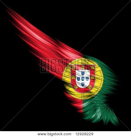 Abstract Wing With Portugal Flag On Black Background