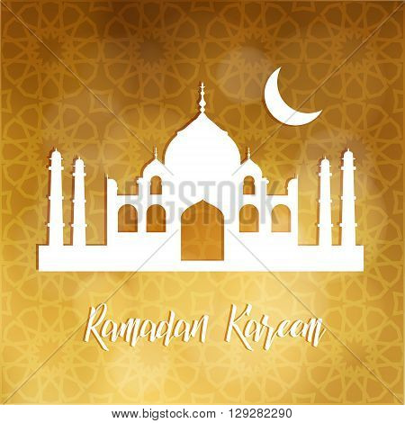Silhouette of mosque and moon. Ramadan Kareem card. Arabic pattern background. Invitation for muslim community holy month Ramadan. Stock vector illustration.