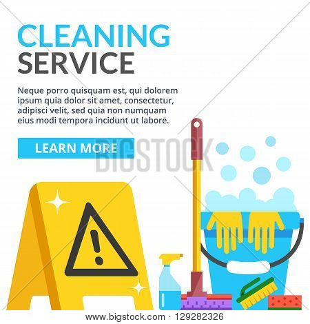 Cleaning service flat illustration. Creative modern web banner. Caution wet floor sign, plastic blue bucket, mop, sponge, brush, detergent product, glass cleaner. Vector illustration