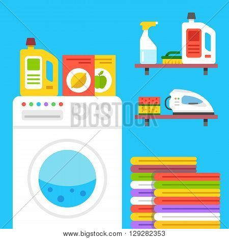 Laundry illustration. Laundry room with washing machine, household products, pile of clothes, iron, laundry wash detergent, etc. Flat vector illustration