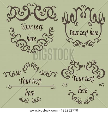 Vector set calligraphic design elements template. Vector illustration Framework with an ornament