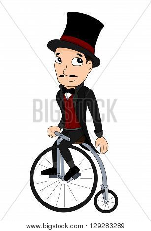 Illustration of a man with a top hat riding a penny-farthing 19th century velocipede isolated on a white background