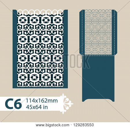Template congratulatory envelope with carved openwork pattern. Template is suitable for greeting cards invitations menus etc. Picture suitable for laser cutting or printing. Vector. Easy to edit