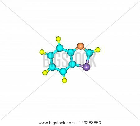 Benzothiazole is an aromatic heterocyclic compound. It is colorless slightly viscous liquid. 3d illustration