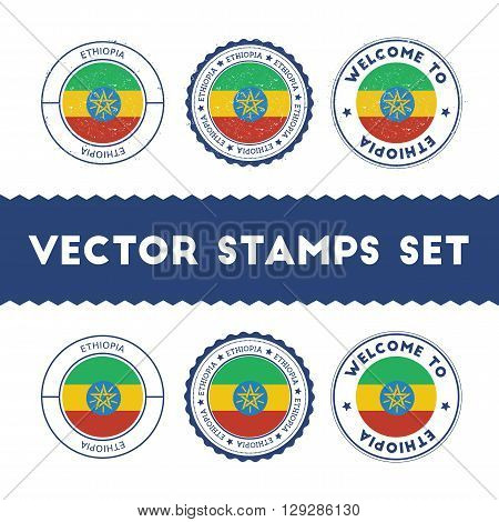 Ethiopian Flag Rubber Stamps Set. National Flags Grunge Stamps. Country Round Badges Collection.