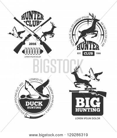 Vector retro vintage hunting labels, emblems, logos, badges. Hunting logotype, duck and deer, hunting hobby, hunting sport illustration poster