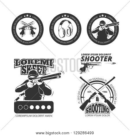Vintage gun, pistol club vector labels, emblems, badges, logos. Shooting gun, shooting pistol emblem, shooting sport illustration