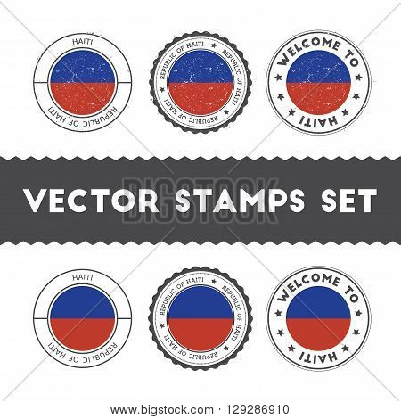 Haitian Flag Rubber Stamps Set. National Flags Grunge Stamps. Country Round Badges Collection.