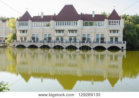 Moscow, Russia - August 11, 2015: A Beautiful Building - The Castle On The Lake In The Territory Of