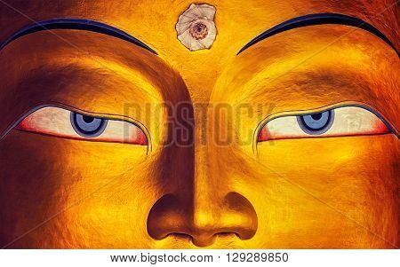 Vintage retro effect filtered hipster style image of eyes of Maitreya Buddha face close up. Thiksey Gompa. Ladakh, India