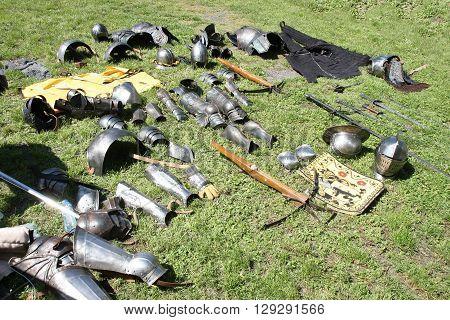 Belgrade, Serbia - April, 23, 2016: Medieval knights equipment exposed at Belgrade Knight Fest