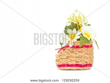 Basketry Shoes with Artificial chrysanthemum flower on white background
